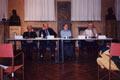 I relatori al dibattito del pomeriggio nell'aula Nievo