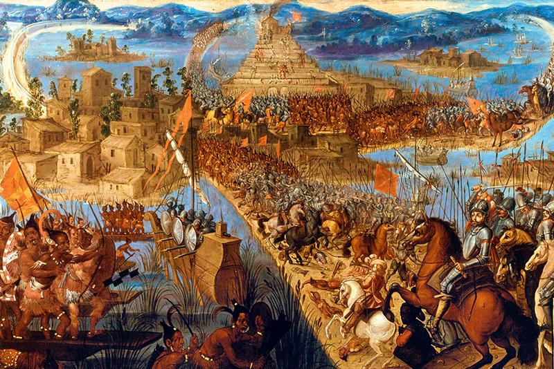 Hernán Cortés alle porte della capitale dell'Impero azteco, 1521.