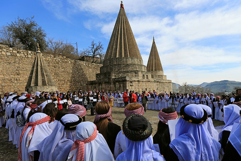 Ceremony of Yazidi women in Shikhan held on March 8, 2019 to remember women killed by Islamic State.