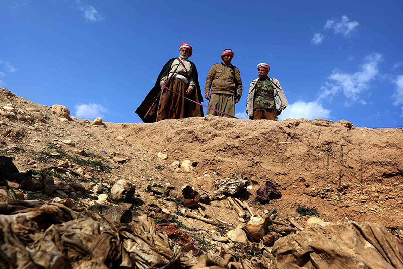 The mass graves of Yazidis killed by the Islamic State discovered in 2015 near the village of Sinuni, in northwestern Sinjar.