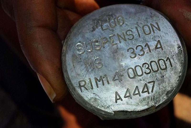 Fragment of a bomb produced in Italy by the company RWM Italia (whose production code is A4447), used in Yemen in a raid that killed at least 6 people, including 4 minors.